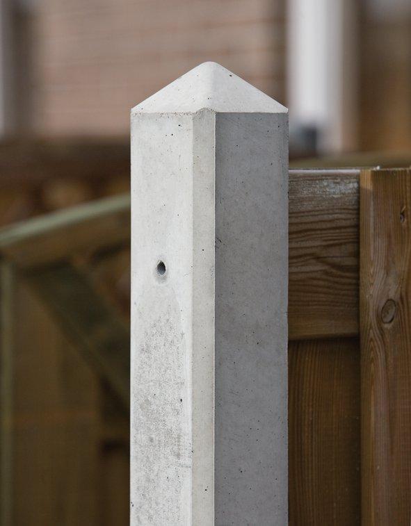 Betonpaal wit/grijs met diamantkop